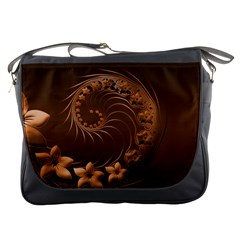 Dark Brown Abstract Flowers Messenger Bag