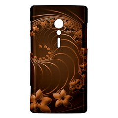 Dark Brown Abstract Flowers Sony Xperia ion Hardshell Case