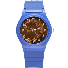 Dark Brown Abstract Flowers Plastic Sport Watch (Small)