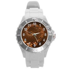 Dark Brown Abstract Flowers Plastic Sport Watch (Large)
