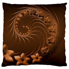 Dark Brown Abstract Flowers Large Cushion Case (Two Sides)