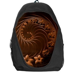 Dark Brown Abstract Flowers Backpack Bag