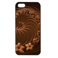 Dark Brown Abstract Flowers Apple iPhone 5 Seamless Case (Black)