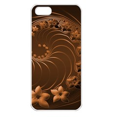 Dark Brown Abstract Flowers Apple iPhone 5 Seamless Case (White)