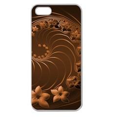 Dark Brown Abstract Flowers Apple Seamless Iphone 5 Case (clear)