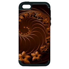 Dark Brown Abstract Flowers Apple Iphone 5 Hardshell Case (pc+silicone)