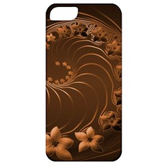 Dark Brown Abstract Flowers Apple Iphone 5 Classic Hardshell Case