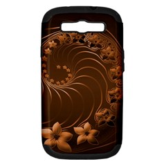 Dark Brown Abstract Flowers Samsung Galaxy S III Hardshell Case (PC+Silicone)