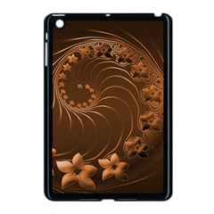 Dark Brown Abstract Flowers Apple Ipad Mini Case (black)