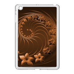 Dark Brown Abstract Flowers Apple iPad Mini Case (White)