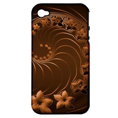 Dark Brown Abstract Flowers Apple Iphone 4/4s Hardshell Case (pc+silicone)