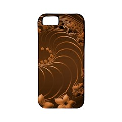 Dark Brown Abstract Flowers Apple iPhone 5 Classic Hardshell Case (PC+Silicone)