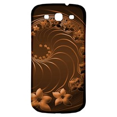Dark Brown Abstract Flowers Samsung Galaxy S3 S III Classic Hardshell Back Case