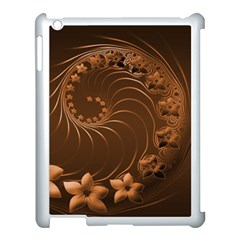 Dark Brown Abstract Flowers Apple iPad 3/4 Case (White)