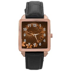 Dark Brown Abstract Flowers Rose Gold Leather Watch