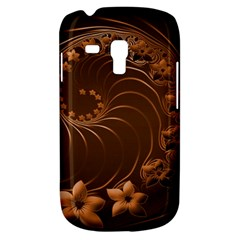 Dark Brown Abstract Flowers Samsung Galaxy S3 Mini I8190 Hardshell Case