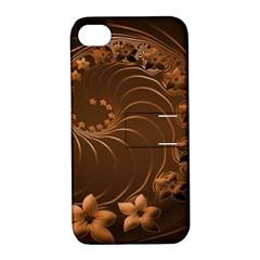 Dark Brown Abstract Flowers Apple Iphone 4/4s Hardshell Case With Stand