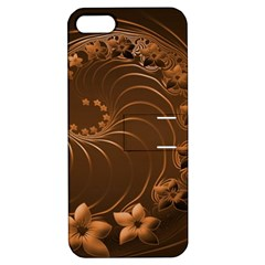 Dark Brown Abstract Flowers Apple iPhone 5 Hardshell Case with Stand