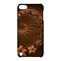 Dark Brown Abstract Flowers Apple iPod Touch 5 Hardshell Case with Stand