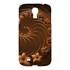 Dark Brown Abstract Flowers Samsung Galaxy S4 I9500 Hardshell Case