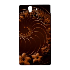 Dark Brown Abstract Flowers Sony Xperia Z L36H Hardshell Case