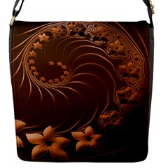 Dark Brown Abstract Flowers Flap closure messenger bag (Small)