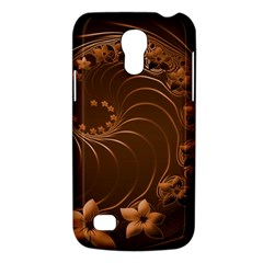 Dark Brown Abstract Flowers Samsung Galaxy S4 Mini Hardshell Case