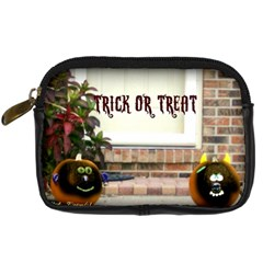 Black Ghoulish Pumpkins In Black Vignette Digital Camera Leather Case
