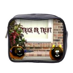 Black Ghoulish Pumpkins In Black Vignette Mini Travel Toiletry Bag (two Sides)