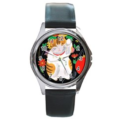 Maneki Neko Round Metal Watch (Silver Rim)
