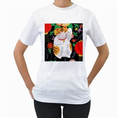 Maneki Neko Womens  T-shirt (White)