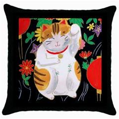 Maneki Neko Black Throw Pillow Case