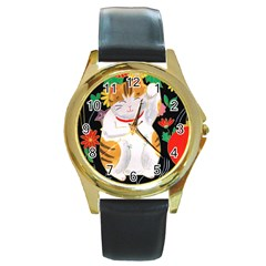 Maneki Neko Round Metal Watch (Gold Rim)