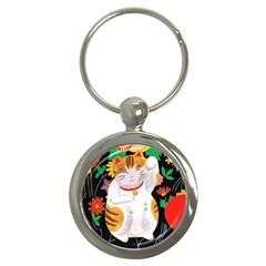 Maneki Neko Key Chain (round)