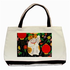 Maneki Neko Twin Sided Black Tote Bag