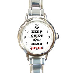 Keep Quiet And Read Joyce Black Round Italian Charm Watch