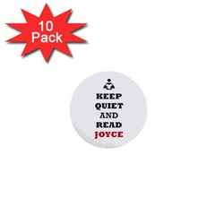 Keep Quiet And Read Joyce Black 1  Mini Button (10 Pack)