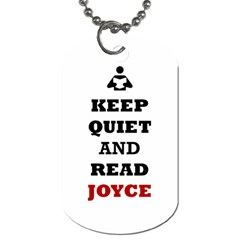 Keep Quiet And Read Joyce Black Dog Tag (Two Sided)