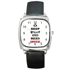 Keep Quiet And Read Joyce Black Square Leather Watch