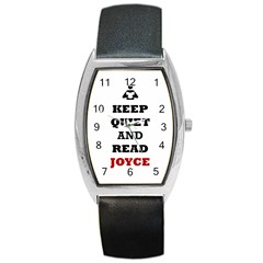 Keep Quiet And Read Joyce Black Tonneau Leather Watch