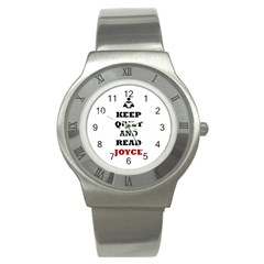 Keep Quiet And Read Joyce Black Stainless Steel Watch (unisex)