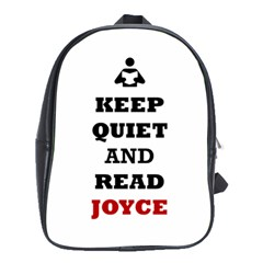 Keep Quiet And Read Joyce Black School Bag (Large)