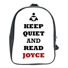 Keep Quiet And Read Joyce Black School Bag (XL)