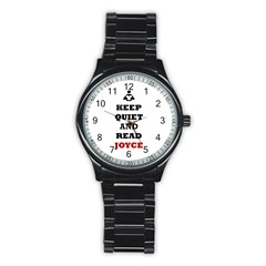 Keep Quiet And Read Joyce Black Sport Metal Watch (black)