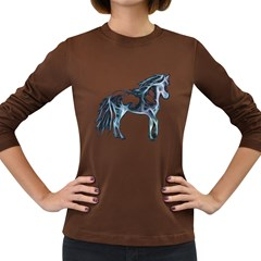 Paso Fino Black-Blue Womens Long Sleeve T-shirt (Black)