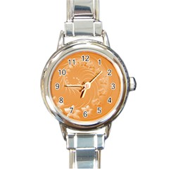 Orange Abstract Flowers Round Italian Charm Watch