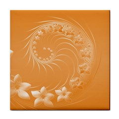 Orange Abstract Flowers Ceramic Tile
