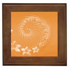 Orange Abstract Flowers Framed Ceramic Tile