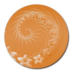 Orange Abstract Flowers 8  Mouse Pad (Round)