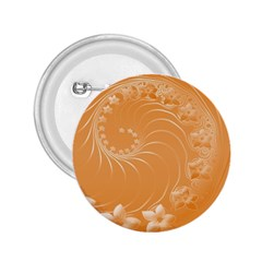 Orange Abstract Flowers 2.25  Button